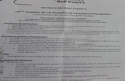 La 6ème édition du Tournoi de Golf « Trophée Chambre Espagnole de Commerce et d'Industrie de Casablanca »